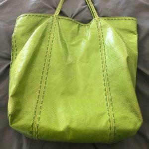 Carlos Falchi large green leather tote